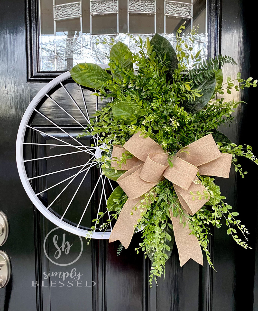 Bicycle Wheel Wreath with Greenery - Spring and Summer Door