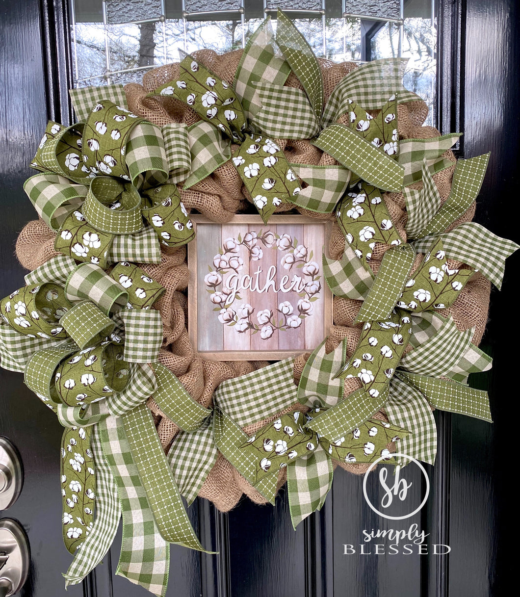 Moss Green Cotton Gather Burlap Wreath - Simply Blessed
