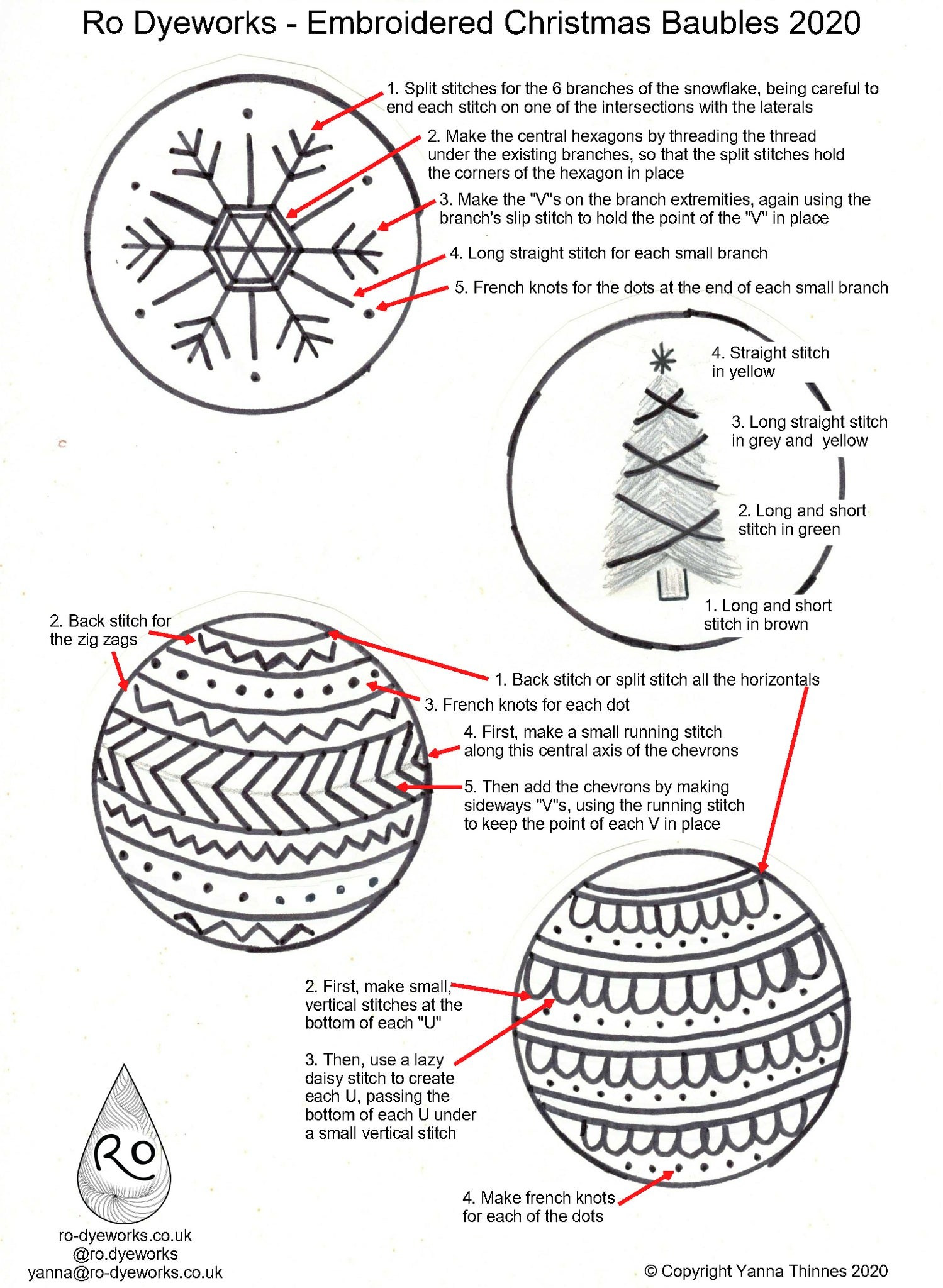 Christmas embroidery patterns and instructions for 4 baubles or other uses