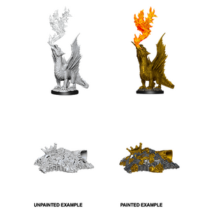 D&D Nolzur's Marvelous Miniatures: Gold Dragon Wyrmling & Half Eaten Treasure Pile - WAVE 11
