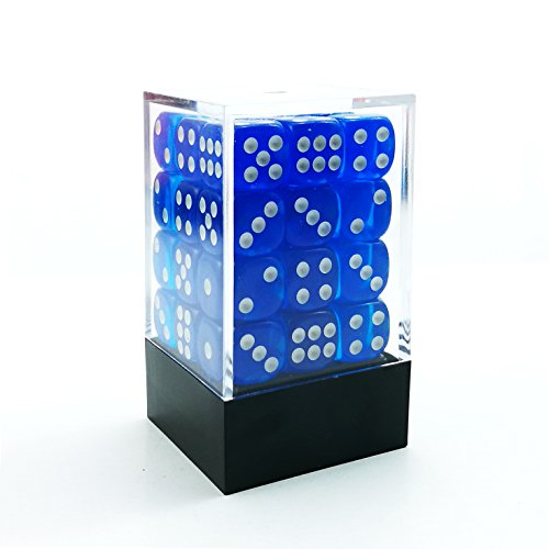 Blackfire Dice Cube - 12mm D6 36 Dice Set - Transparent Dark Blue