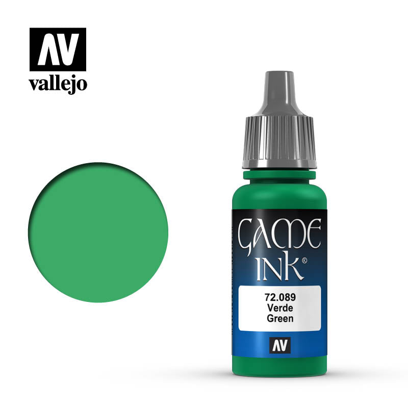 Vallejo 17ml Game Ink - Inky Green Acrylic Paint # 72089