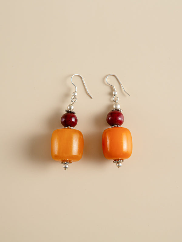 Amber Coral Earring