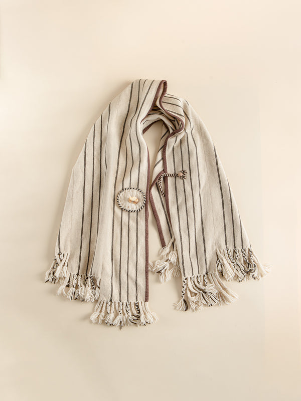 Minimalist style handmade fashion shawl, traditional craftsmanship.