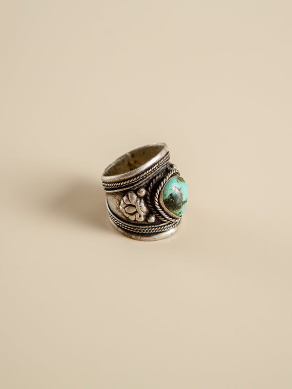 Ethnic Ring - Cupronickel - Turquoise  Silver Ring | Retro Ring | Handcrafted | Halloween Gift | Father's Day Gift