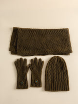 Traditional handmade wool scarf, a Christmas gift for family in the cold winter.