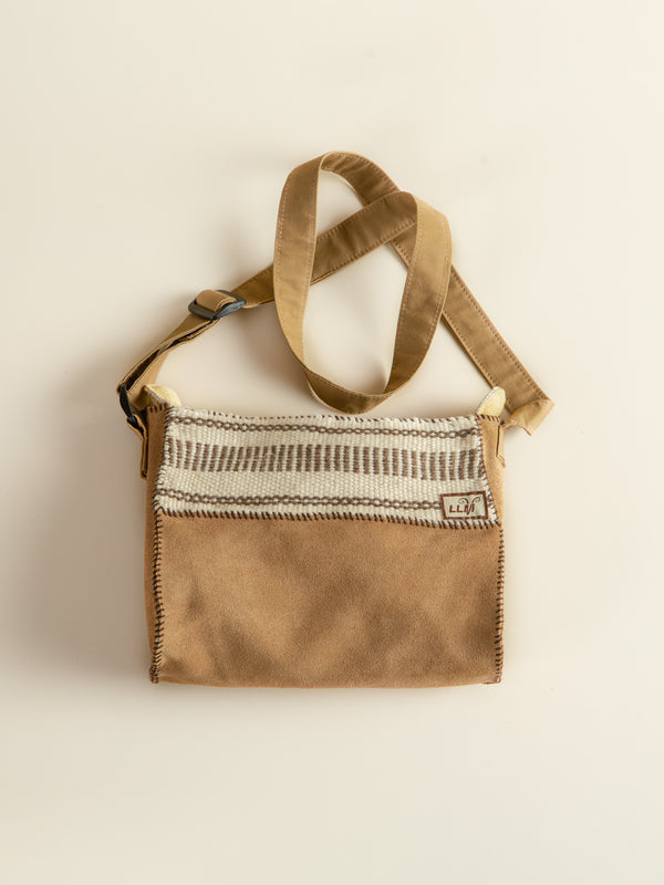 Traditional handmade yak leather bag, prairie style, back to nature.