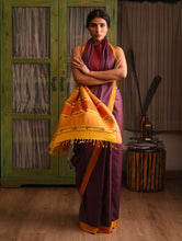 Load image into Gallery viewer, LEHER Tussar Silk Sari - Burgundy Purple