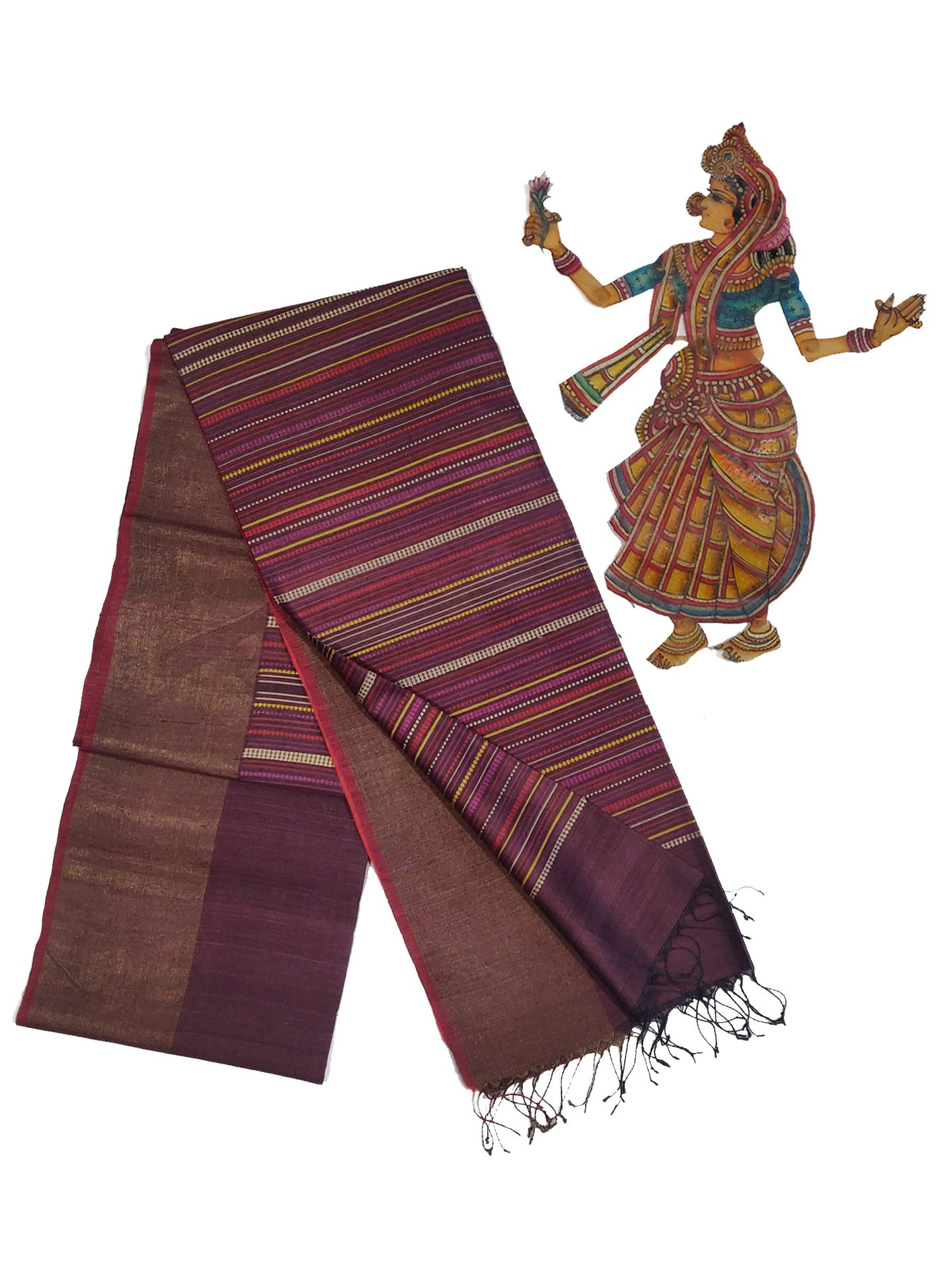 BEEJ Long Pallu Tussar Silk Sari - Raisin Purple