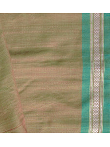 BOMKAI Cotton Sari - Moss Green