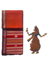 Load image into Gallery viewer, DHALA PHATAR Cotton Sari - Vermillion