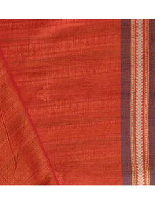 DHALA PHATAR Cotton Sari - Vermillion