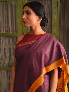 LEHER Tussar Silk Sari - Burgundy Purple
