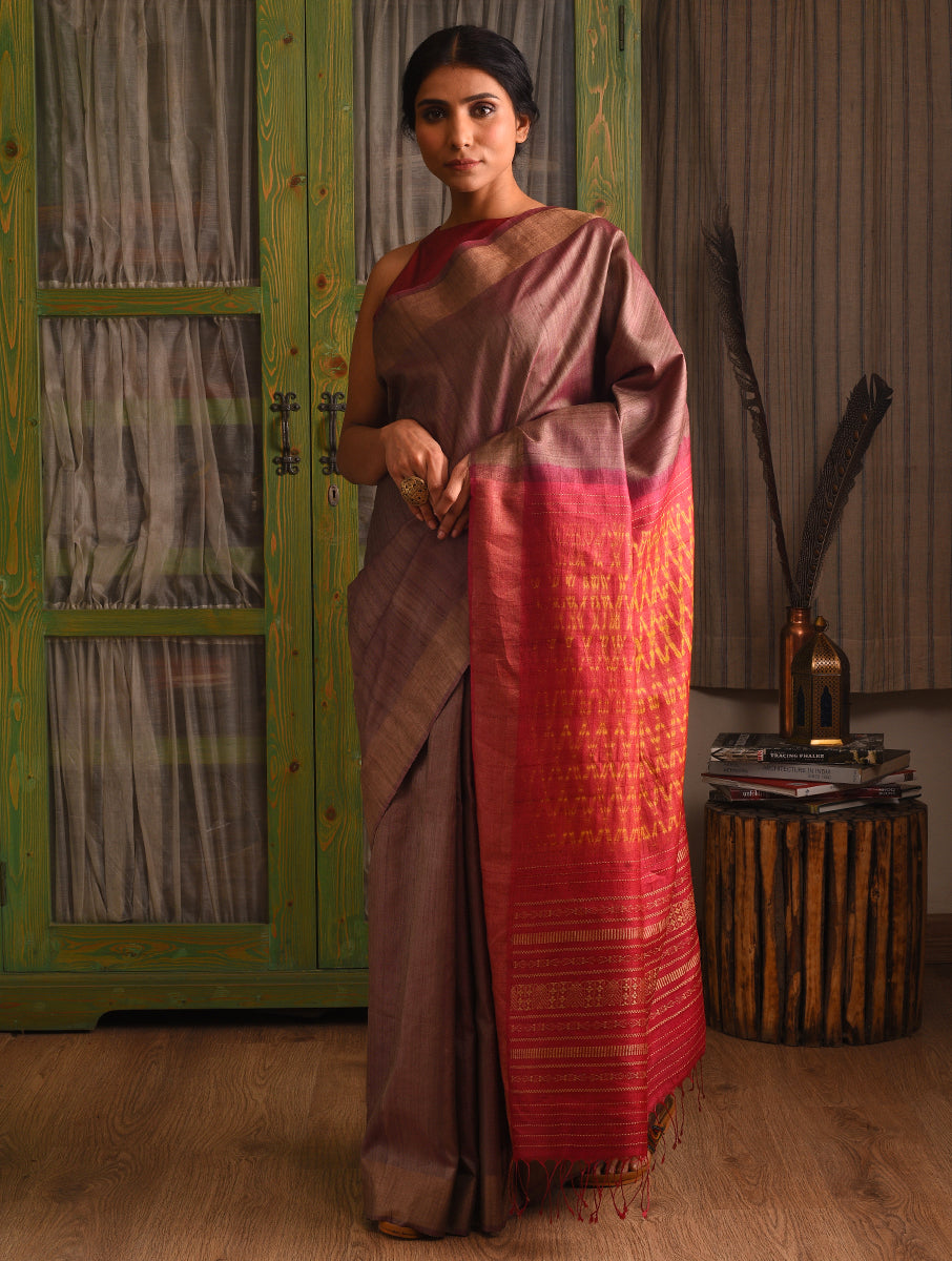 WOVEN SHIBORI Tussar Silk Sari - Chestnut Brown Orange