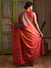 Load image into Gallery viewer, WOVEN SHIBORI Tussar Silk Sari - Chestnut Brown Orange