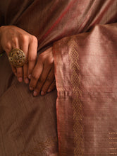 Load image into Gallery viewer, MACHLI (FISH) Tussar Silk Sari - Taupe Brown