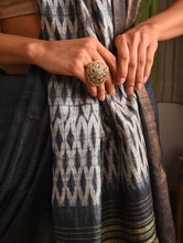 Load image into Gallery viewer, WOVEN SHIBORI Tussar Silk Sari - Slate Grey