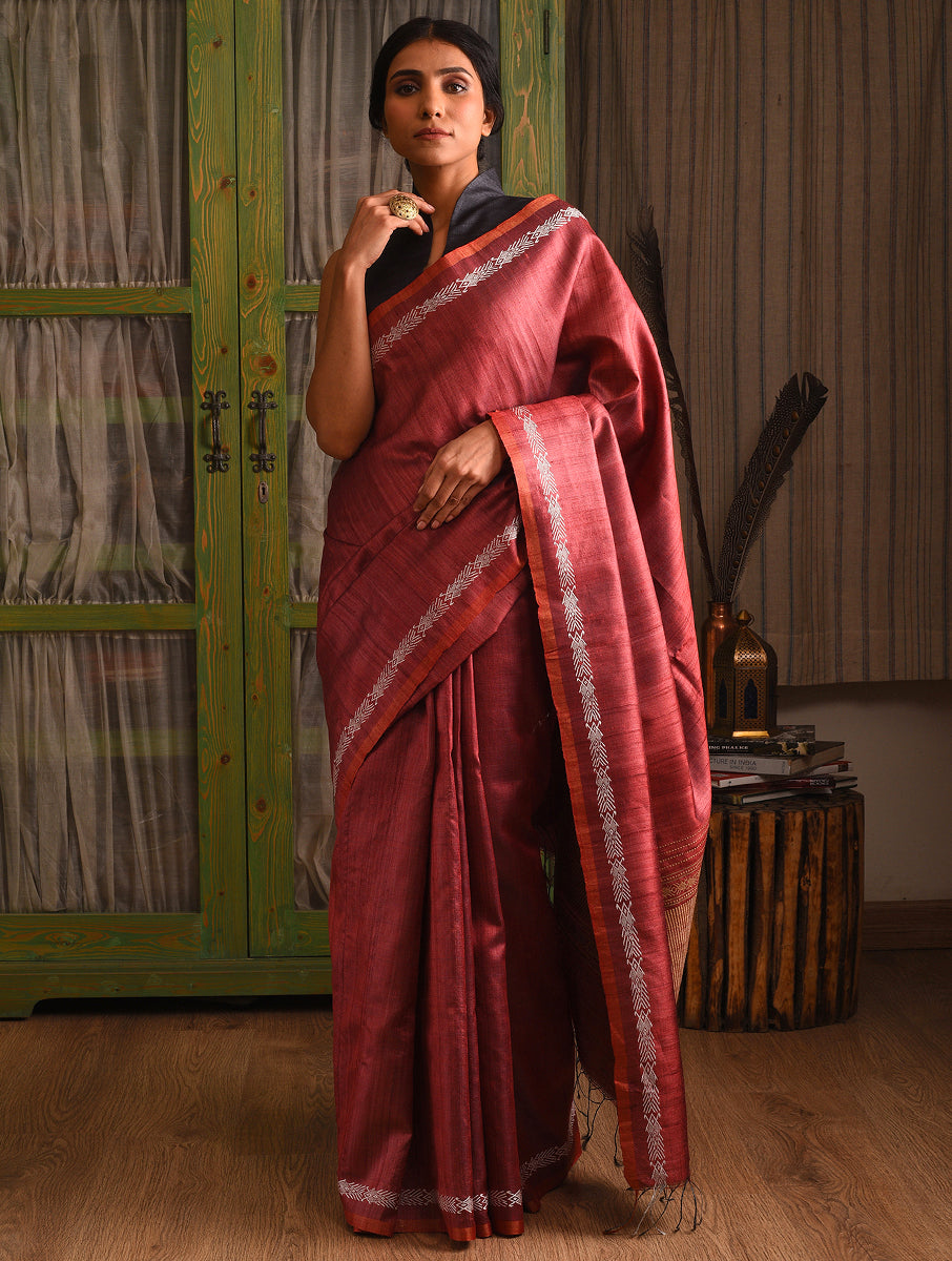 MACHLI (FISH) Tussar Silk Sari -  Brick Red