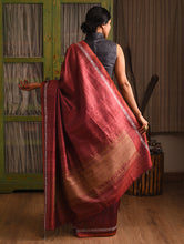 Load image into Gallery viewer, MACHLI (FISH) Tussar Silk Sari -  Brick Red
