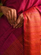 Load image into Gallery viewer, NAVAGUNJARA Tussar Silk Sari - Ruby Pink