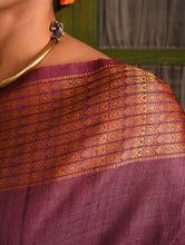 Load image into Gallery viewer, NAVAGUNJARA Tussar Silk Sari - Aubergine Purple