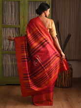 Load image into Gallery viewer, NAVAGUNJARA Tussar Silk Sari - Red Pink