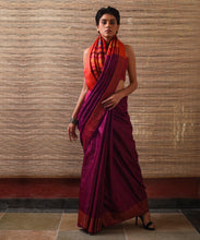 Load image into Gallery viewer, NAVAGUNJARA Tussar Silk Sari - Purple Orange