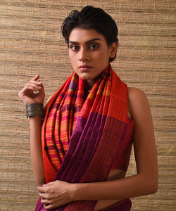 NAVAGUNJARA Tussar Silk Sari - Purple Orange