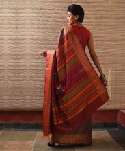 Load image into Gallery viewer, NAVAGUNJARA Tussar Silk Sari - Plum