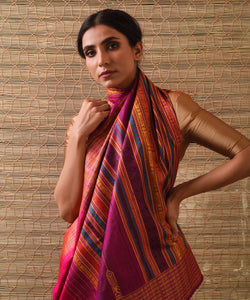 NAVAGUNJARA Tussar Silk Sari - Indian Pink