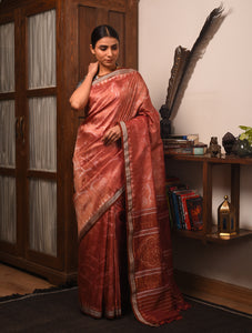 IKAT MASTERPIECE Chilika Birds Silk Saree - Chestnut Brown