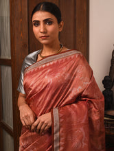 Load image into Gallery viewer, IKAT MASTERPIECE Chilika Birds Silk Saree - Chestnut Brown