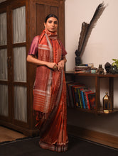 Load image into Gallery viewer, IKAT MASTERPIECE Chitto Silk Saree -  Burnt Orange