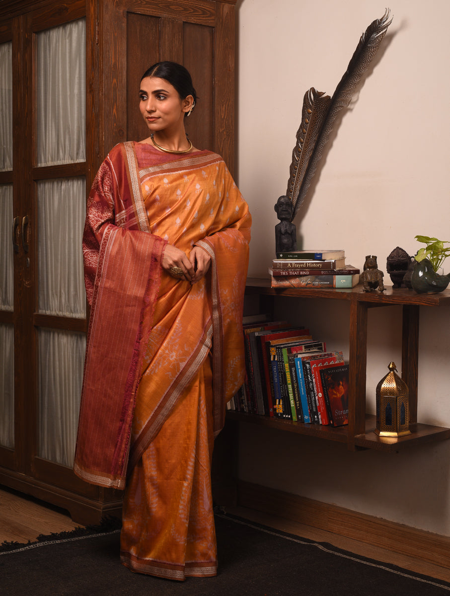IKAT MASTERPIECE Ambi Silk Saree -  Orange Yellow