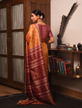 Load image into Gallery viewer, IKAT MASTERPIECE Ambi Silk Saree -  Orange Yellow