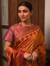 Load image into Gallery viewer, IKAT MASTERPIECE Geet Govind Calligraphy Silk Saree -  Ochre Yellow