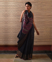 Load image into Gallery viewer, YOGINI  Tussar Silk Sari - Black