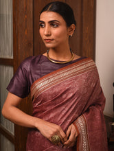 Load image into Gallery viewer, IKAT MASTERPIECE Konark Silk Saree - Cardovan Brown