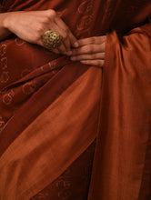Load image into Gallery viewer, IKAT MASTERPIECE Calligraphy Silk Saree - Burnt umber