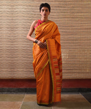 Load image into Gallery viewer, DONGRIA Tussar Silk Sari - Tangerine Orange