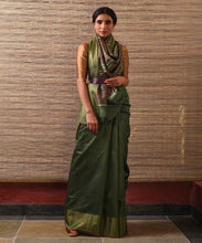 Load image into Gallery viewer, BEEJ Tussar Silk Sari - Henna Green