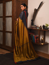Load image into Gallery viewer, BADHTE KADAM KUMBHA Tussar Silk Sari - Black Gold