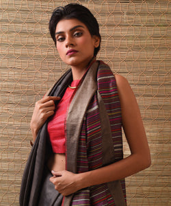 BEEJ Tussar Silk Sari - Shadow Grey