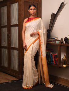 DESI KUMBHA Tussar/Cotton Sari - Ivory Yellow