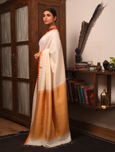 Load image into Gallery viewer, DESI KUMBHA Tussar/Cotton Sari - Ivory Yellow