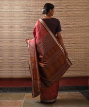 Load image into Gallery viewer, IKAT MASTERPIECE Pallavi Silk Saree - Coral