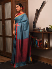 Load image into Gallery viewer, DESI KUMBHA Tussar/Cotton Sari - Indigo Blue