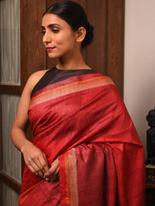 TRI RATNA Tussar Silk Sari - Crimson Red
