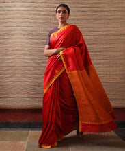 Load image into Gallery viewer, KUMBHA Tussar Silk Sari - Persian Red