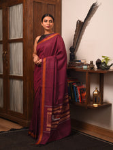 Load image into Gallery viewer, JATRA Tussar Silk Sari -  Maroon